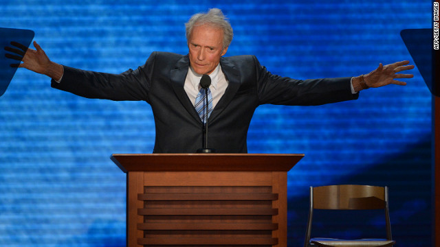 Actor-director Clint Eastwood speaks to the audience at the Tampa Bay Times Forum in Tampa, Florida, on August 30, 2012 on the last day of the Republican National Convention (RNC). The RNC culminates today with the formal nomination of Mitt Romney and Paul Ryan as the GOP presidential and vice-presidential candidates in the US presidential election.   AFP Stan HONDA        (Photo credit should read STAN HONDA/AFP/GettyImages)