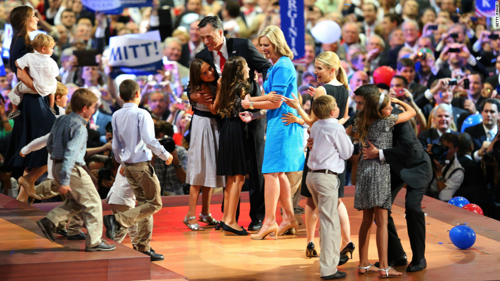 Romney and vice presidential candidate Paul Ryan take the stage with their families at the end of the night.