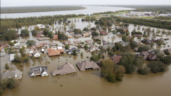 Flood waters from Tropical Storm Isaac swamp homes in Braithwaite, Louisiana, on Friday, August 31, 2012.