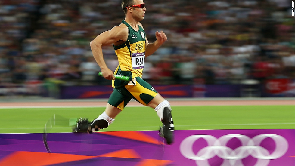 "Due to the Paralympics' classification rules, South Africa's double amputee ""Blade Runner"" Oscar Pistorius can line up against runners with only one prosthetic leg."