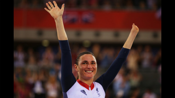 Gold medalist Sarah Storey of Great Britain poses on the podium during the victory ceremony for  women