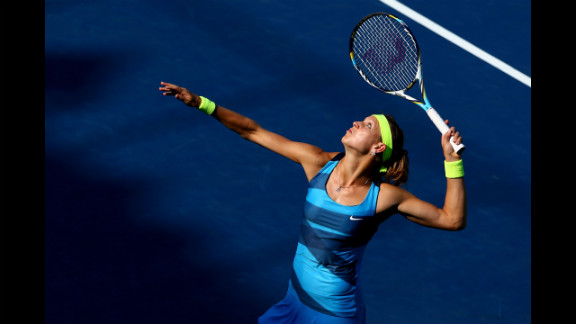 Czech Lucie Safarova serves to Russian Nadia Petrova of Russia during their third round match.