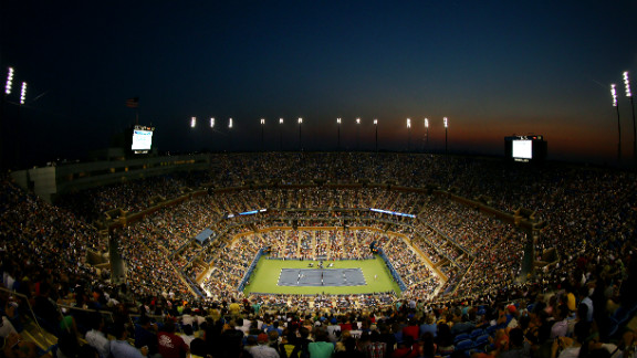 Spectators inside a packed Arthur Ashe Stadium watch the second-round match between American Andy Roddick and Australia