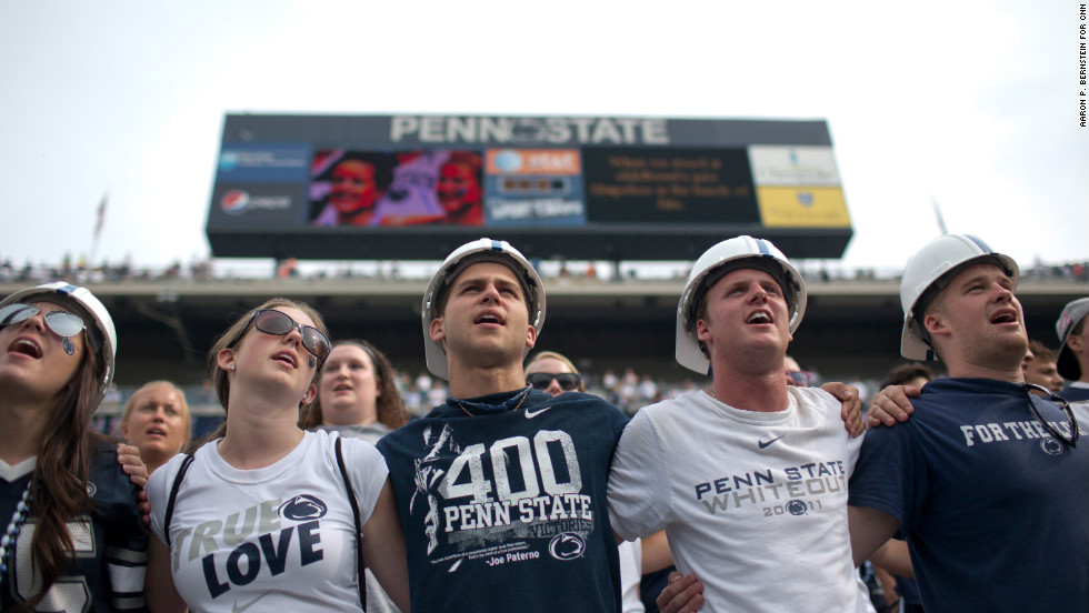 Penn State fans sing the school song following the loss.