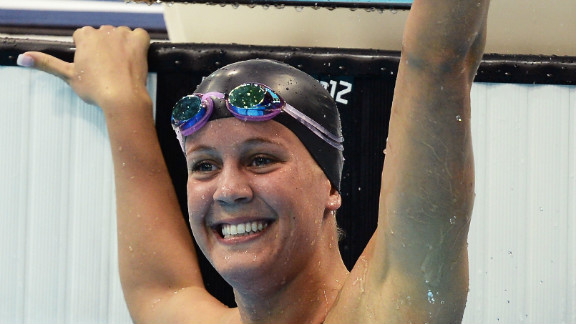 USA's Mallory Weggemann celebrates after winning the 50m freestyle S8 event at the London Paralympics.