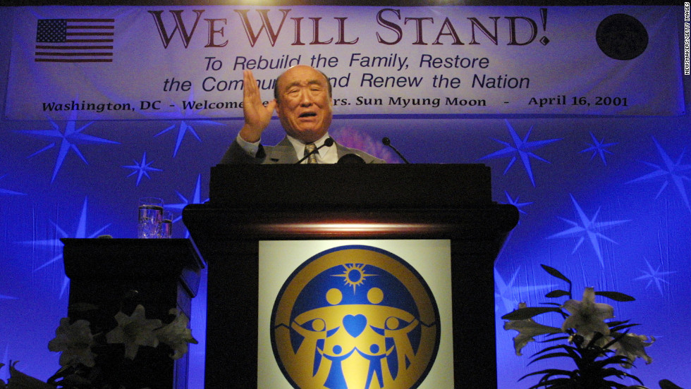 As founder of the Family Federation for World Peace and Unification, Moon speaks during a meeting with 2,500 clergy in Washington on April 16, 2001. He was on a national unity tour.