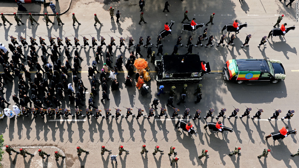 The funeral entourage for Ethiopian Prime Minister Meles Zenawi makes its way through the streets of Addis Ababa.