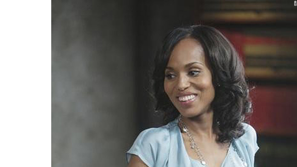 "Olivia Pope, played by actress Kerry Washington on ABC's ""Scandal,"" is wearing one of her signature long necklaces. Costume designer Lyn Paolo said she likes to use jewelry that ""embellishes the costume, but also disappears."" And Olivia only wears Movado watches, such as the one shown here, Paolo said."