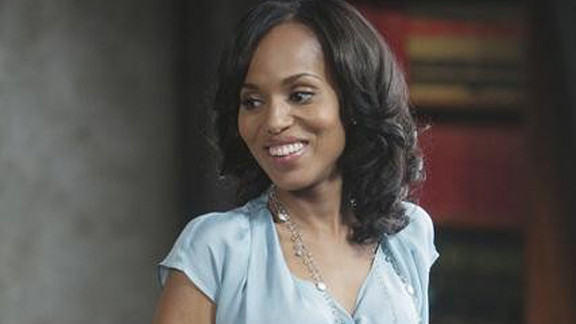 """Olivia Pope, played by actress Kerry Washington on ABC's """"Scandal,"""" is wearing one of her signature long necklaces. Costume designer Lyn Paolo said she likes to use jewelry that """"embellishes the costume, but also disappears."""" And Olivia only wears Movado watches, such as the one shown here, Paolo said."""