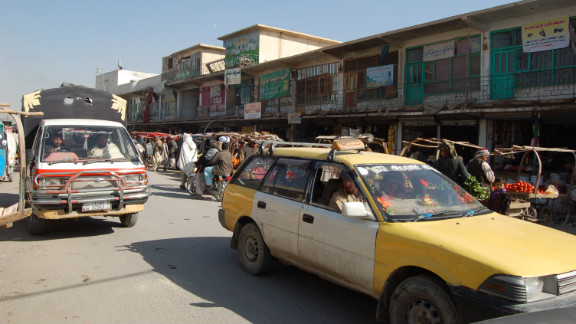 A general view of one the busiest bazaars of Kandahar.