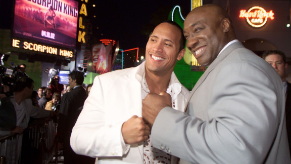 """Duncan and his friend and co-star The Rock attend the Los Angeles premiere of """"The Scorpion King"""" in 2002."""