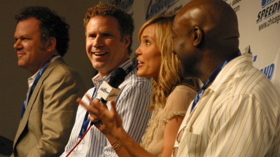 """Duncan and fellow """"Talladega Nights"""" cast members John C. Reilly, Will Ferrell and Leslie Bibb take questions from the media at the Chicagoland Speedway in 2006."""