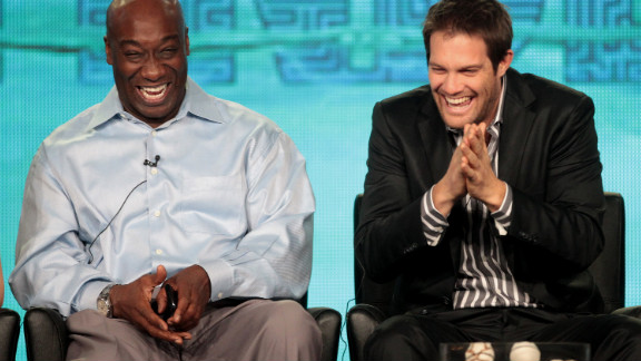 """Duncan and Geoff Stults laugh onstage during the panel for """"The Finder"""" at the Winter TCA Tour on January 8 in Pasadena, California. Dunan's most recent role was on the Fox television series."""