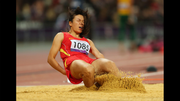 Jingling Ouyang of China competes in the women