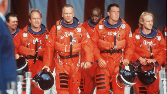 """In 1998, Duncan landed his first significant movie role, playing Bear in """"Armageddon."""" From left, Steve Buscemi, Will Patton, Bruce Willis, Duncan, Ben Affleck and Owen Wilson co-star in the film."""
