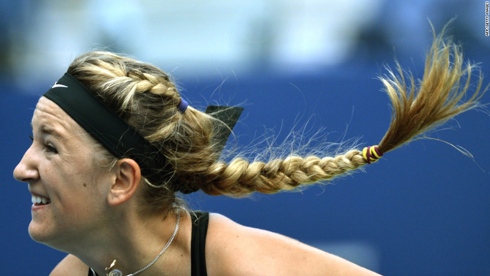 The braids of Victoria Azarenka of Belarus swing with her follow-through during her match on Tuesday.