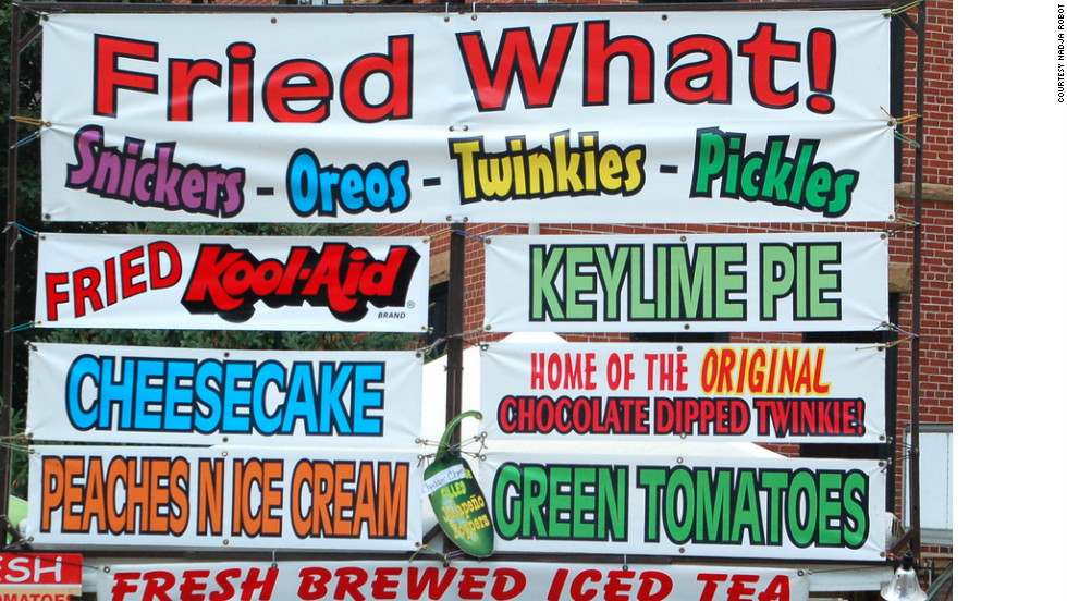 "Americans spend millions on food each year at fairs and festivals around the country.  Here are a just a few examples of the creative concoctions being offered to attendees.  Nadja Robot didn't feel up to trying any of these fried delights at the 2011 Illinois State Fair.  ""I'm sure they were really... something,"" she says."