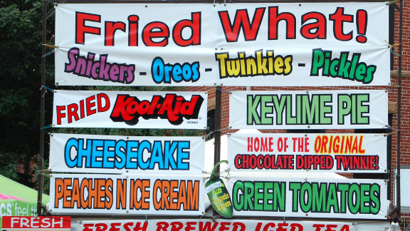 Americans spend millions on food each year at fairs and festivals around the country.  Here are a just a few examples of the creative concoctions being offered to attendees.