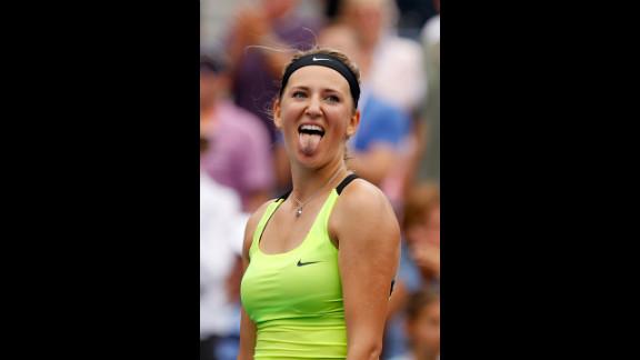 Victoria Azarenka of Belarus celebrates after defeating Samantha Stosur of Australia to win their women's singles quarterfinals match on Tuesday, September 4.