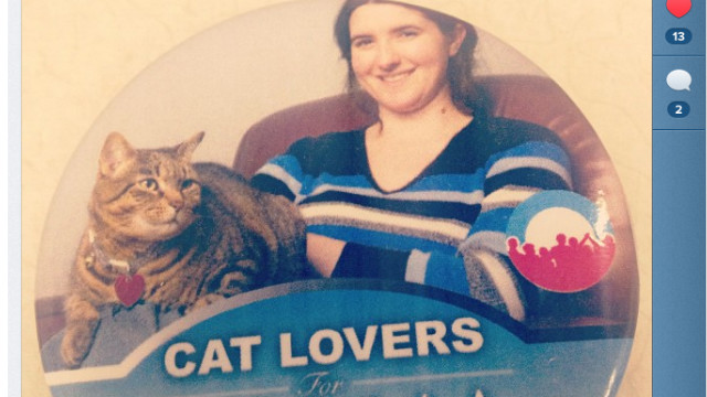 Lauren Mackevich snapped a photo of a Cat Lovers for Obama button at a store in Charlotte.