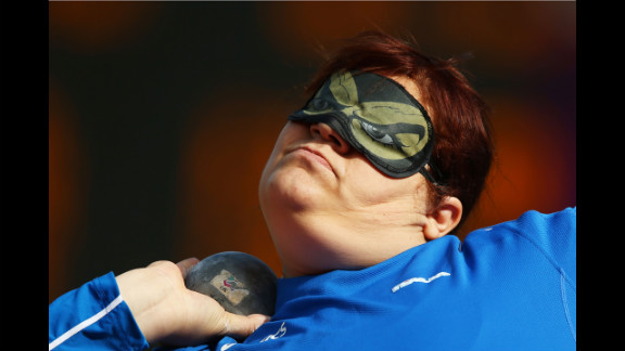 Assunta Legnante of Italy competes in the women