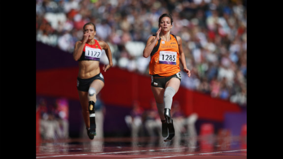 Katrin Green, left, of Germany and Marlou van Rhijn of the Netherlands compete in the women