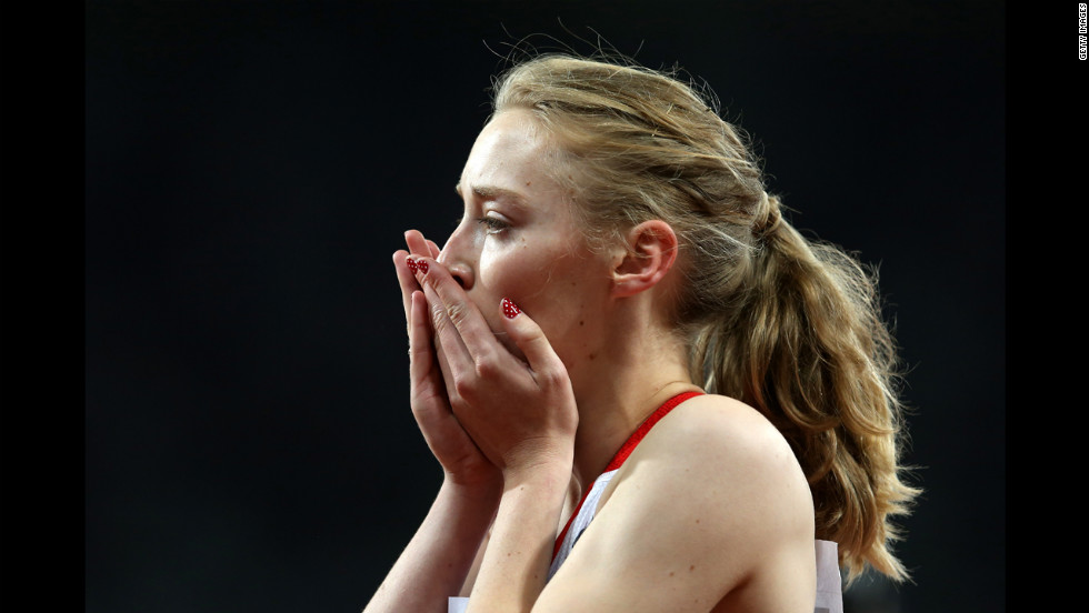 Jenny McLoughlin of Great Britain reacts after the women's 4x100-meter relay - T35/T38 in which her team won the bronze medal Wednesday.