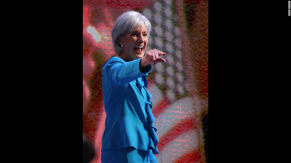 Secretary of Health and Human Services Kathleen Sebelius walks onstage Tuesday.