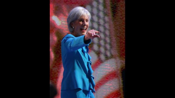 Secretary of Health and Human Services Kathleen Sebelius walks onstage Tuesday.