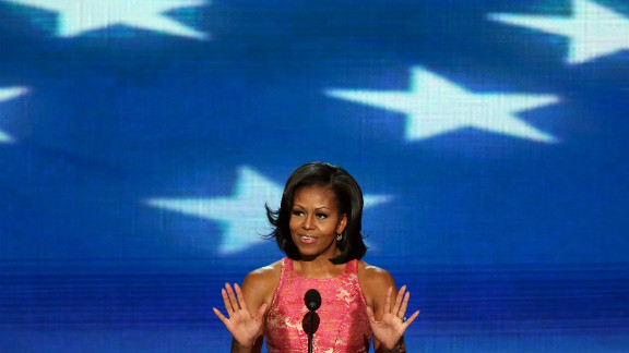 First lady Michelle Obama wraps up day one of the Democratic National Convention in Charlotte, North Carolina, on Tuesday, September 4.