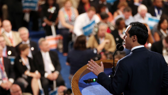 """Julian Castro gives the keynote address Tuesday night. """"Mitt Romney, quite simply, doesn"""