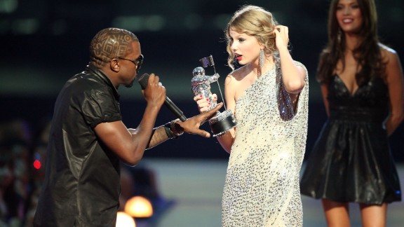 """Taylor Swift's 2009 acceptance speech for best female video was cut short when Kanye West rushed the stage and proclaimed, """"Yo Taylor, I'm really happy for you, I'll let you finish, but Beyonce has one of the best videos of all time."""" Bey went on to win the video of the year for award for """"Single Ladies (Put a Ring On It)."""" She invited the """"You Belong With Me"""" singer back on stage to finish her acceptance speech. At the 2010 awards show, Swift forgave West with a song."""