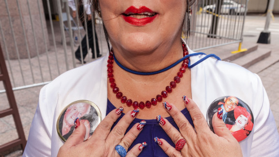 Verna Blackwell of Texas shows off her Obama-themed nails at the Democratic National Convention on Wednesday.