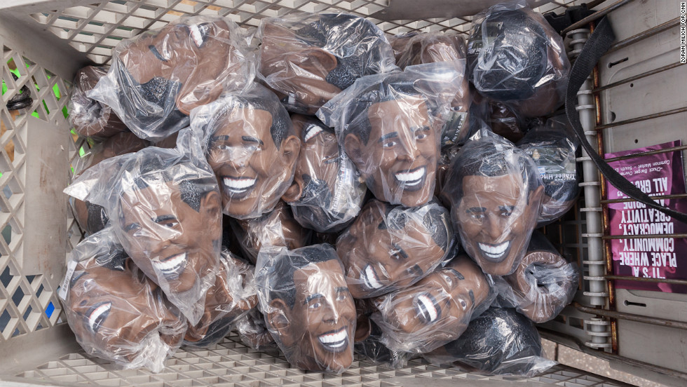 A shopping cart full of trailer hitch covers in the shape of President Barack Obama on Wednesday, September 5.