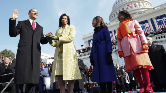 Obama takes the oath of office with his family by his side on January 20, 2009, at the US Capitol. Sasha is at far right, next to Malia.