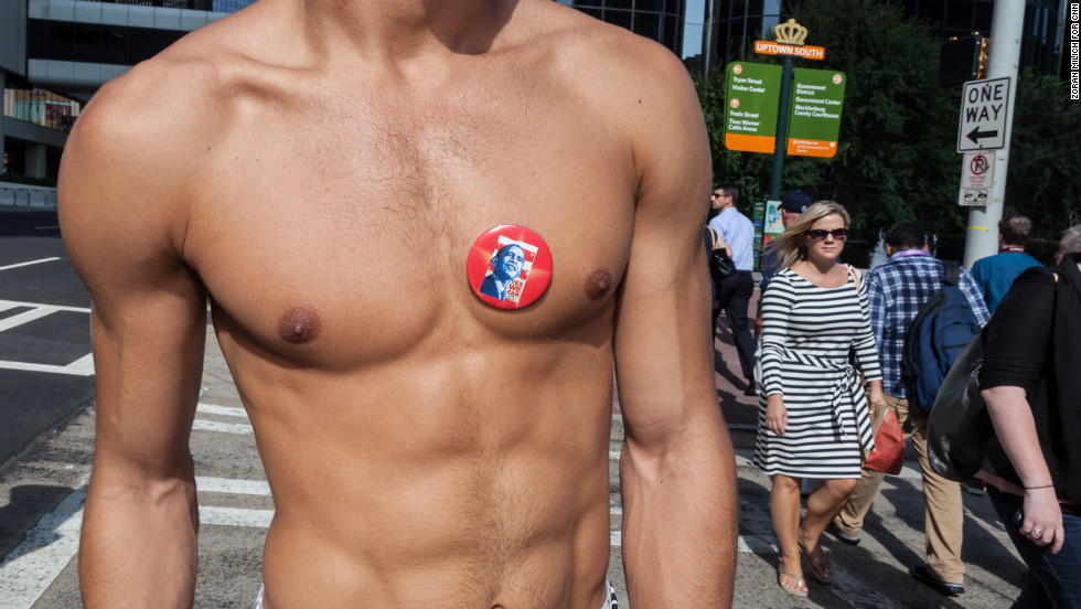 Micah Kelley of North Carolina wears an Obama pin on his chest on Wednesday.