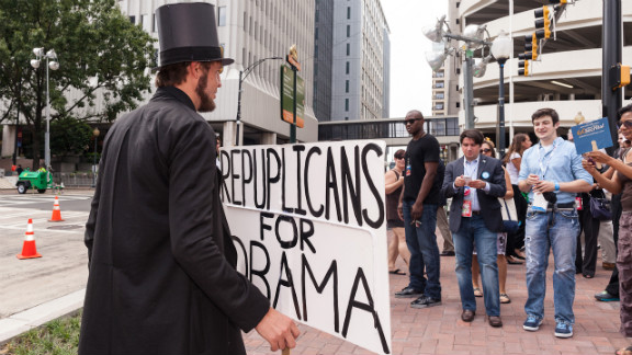 Sam Miller draws attention with his Abe Lincoln costume on Wednesday.