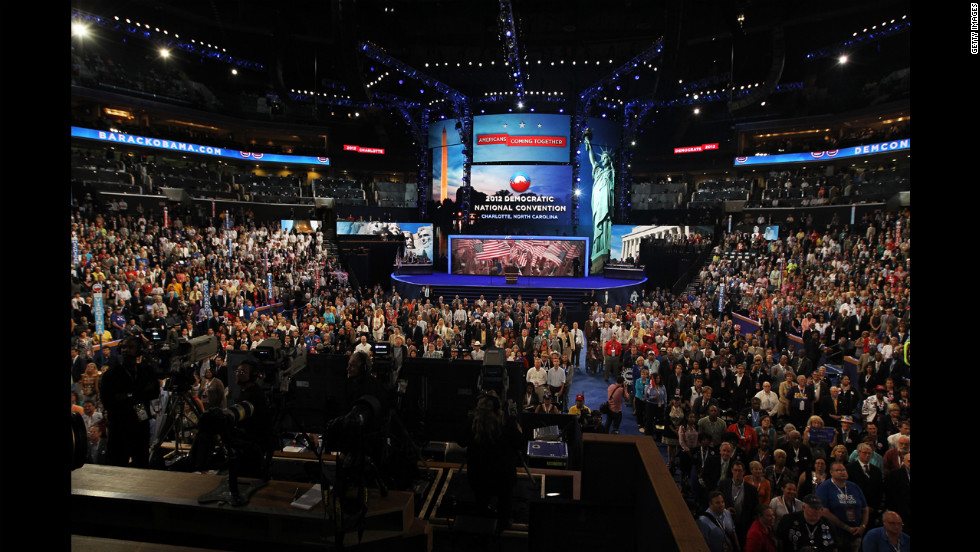 People pose during the official convention photography during Day 2 of the Democratic National Convention at Time Warner Cable Arena on Wednesday.