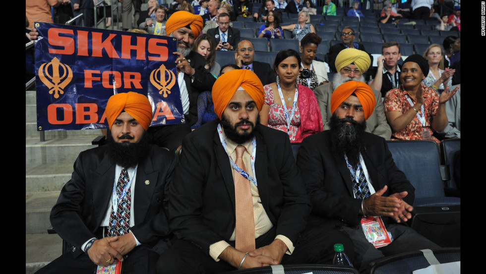 Sikh supporters hold up a sign on Wednesday.
