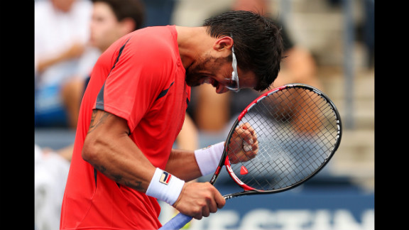 Serbian Janko Tipsarevic clenches his fist after a play against German Philipp Kohlschreiber on Wednesday.