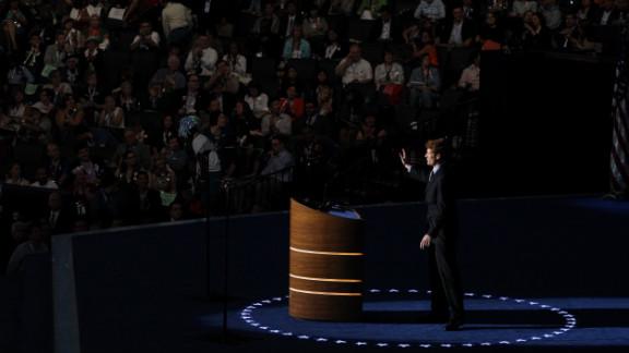 U.S. House candidate Joe Kennedy III of Massachusetts takes the stage Tuesday.