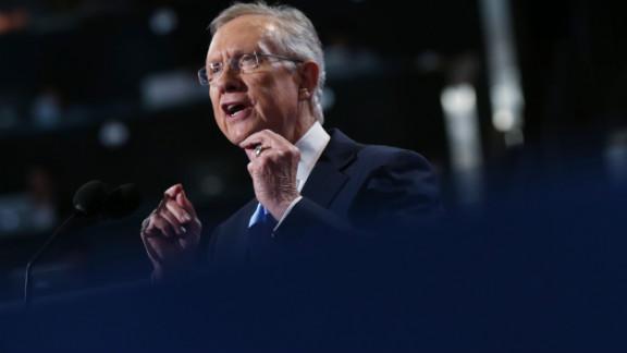 Senate Majority Leader Harry Reid of Nevada speaks to an applauding crowd on Tuesday.