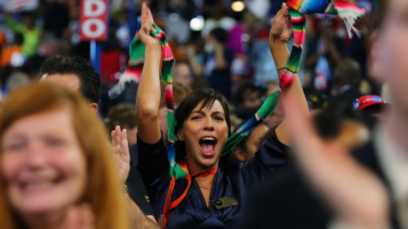 A woman cheers during Tuesday