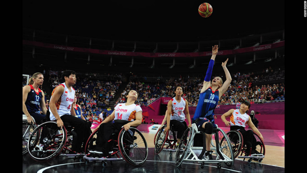 Amy Conroy of Great Britain takes a shot during the women's classification crossover wheelchair basketball match between Great Britain and China on Thursday.