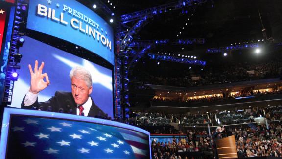 President Bill Clinton speaks on Wednesday, September 5.