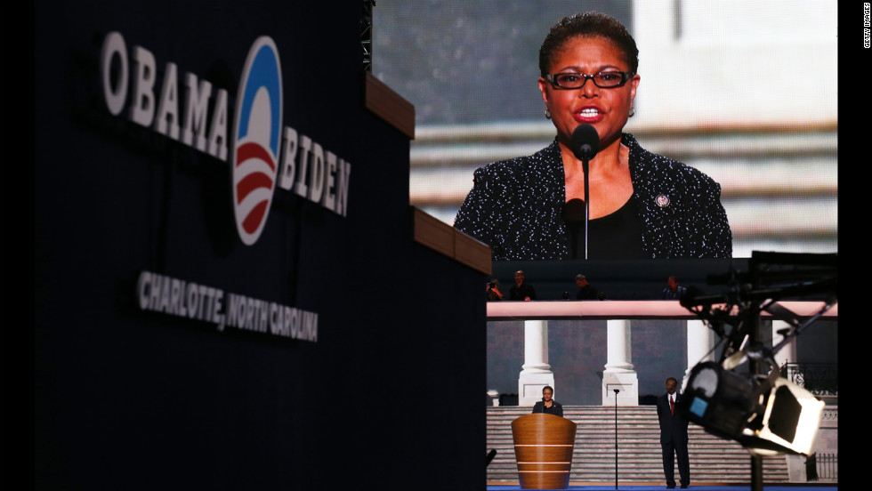 U.S. Rep. Karen Bass of California speaks before delegates on Wednesday night.