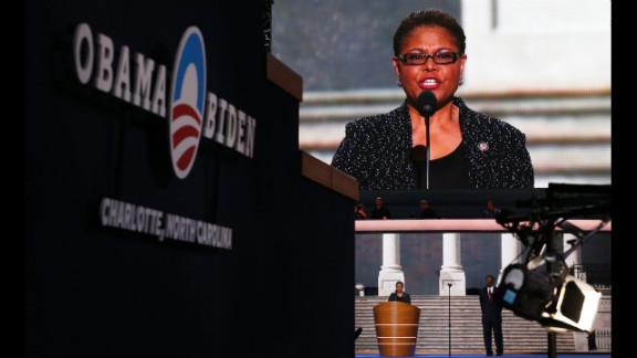 U.S. Rep. Karen Bass of California speaks before delegates on Wednesday night.