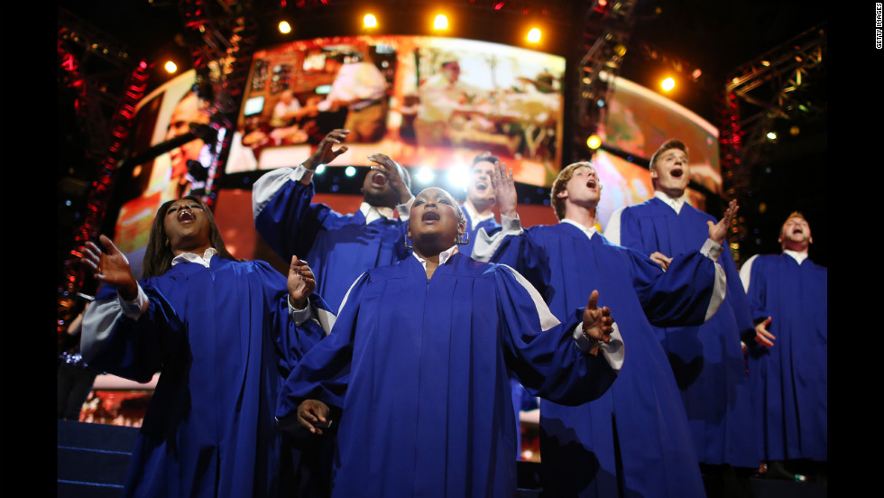 A choir performs on stage during the DNC on Wednesday.