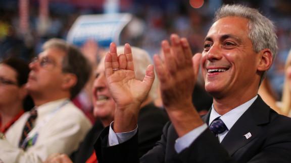 Chicago Mayor Rahm Emanuel claps while listening to Wednesday