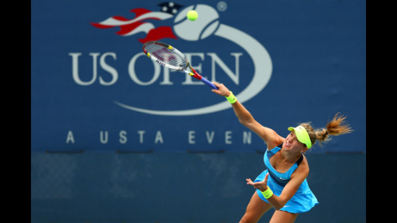 Eugenie Bouchard of Canada returns a shot against Victoria Duval of the U.S. on Thursday.